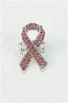 Stretch Rhinestone Pink Ribbon Ring R1173