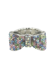 Color Bowknot Rhinestone Rings R1198