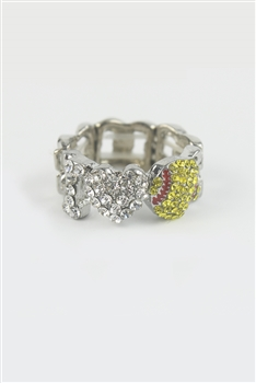 Heart Baseball Shaped Rhinestone Stretchy Ring R1202