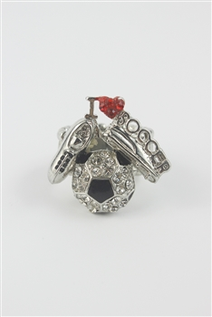 Rhinestone Accent I LOVE SOCCER Ring R1204