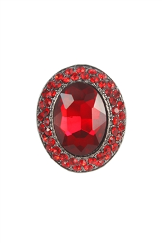 Vintage Women Gemstone Crystal Rings R1208 - Red