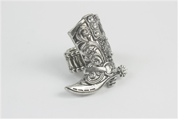 Crystal Metal Boot Rings R1209 - Silver