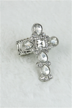 Large Crystal Cross Charm Stretch Ring R1212