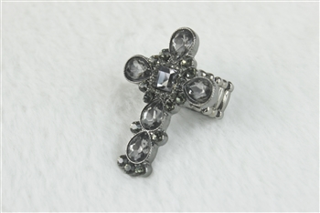 Large Crystal Cross Charm Stretch Ring R1212 - Black
