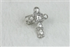 Large Crystal Cross Charm Stretch Ring R1212 - White
