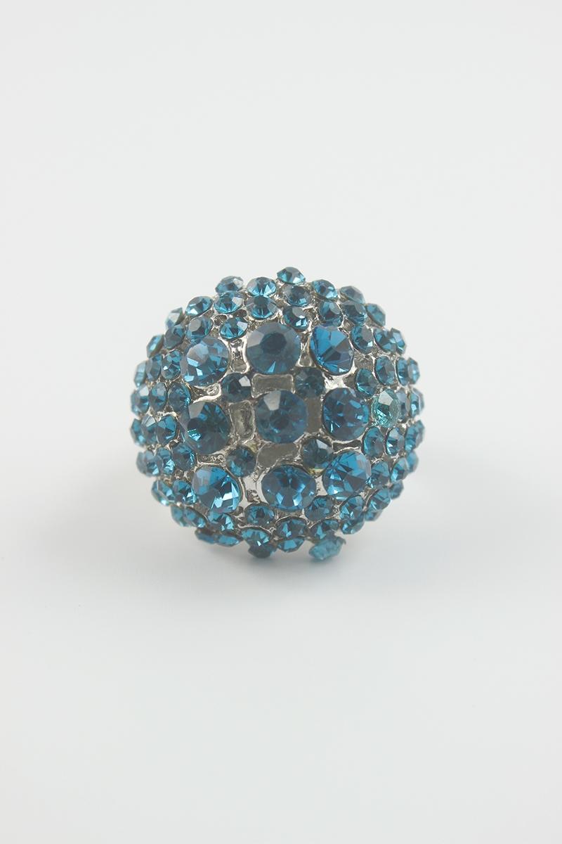 """2/"""" Long Aqua Blue Rhinestone Stretch Ring"""