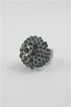 Ball Rhinestone Stretch Rings R1214 - Green