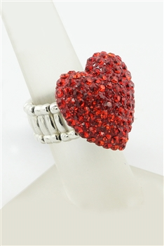 Heart Shaped Rhinestone Rings R1219