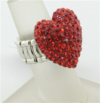 Heart Shaped Rhinestone Rings R1219 - Red