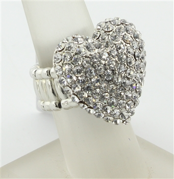 Heart Shaped Rhinestone Rings R1219 - Silver