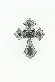 Cross Rhinestone  Rings R1224 - Grey