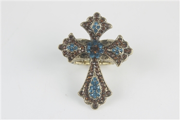 Cross Rhinestone  Rings R1224 - Multi