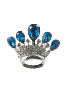 Crown Studded With Crystal Rings R1229