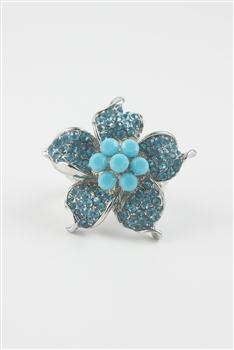 Blue Rhinestone  Flower Rings R1238