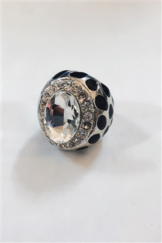 Large Crystal Metal Rings R1248