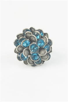 Crystal Accent Flower Stretch Ring R1300