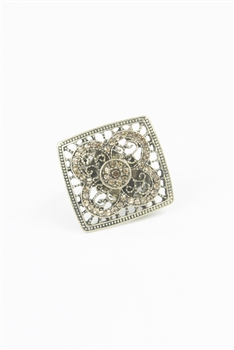 Square shaped Mesh Crystal Rings R1323