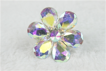 Crystal Flower Rings R1340 - AB