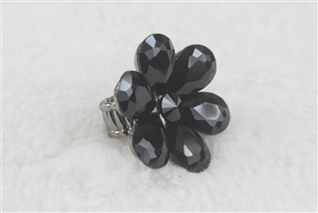 Crystal Flower Rings R1340 - Black