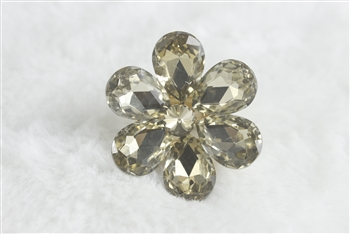 Crystal Flower Rings R1340 - Champagne
