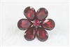 Crystal Flower Rings R1340 - Red