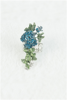 Crystal Flower Rose Rings R1348