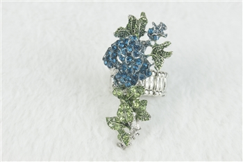 Crystal Flower Rose Rings R1348 - Blue