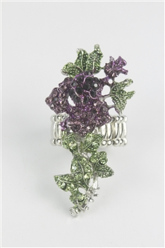 Crystal Flower Rose Rings R1348 - Purple