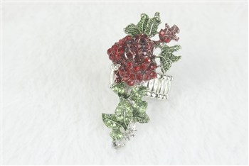 Crystal Flower Rose Rings R1348 - Red