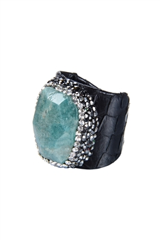 New Fashion Snake Leatherette Stone Rings R1385 - Black