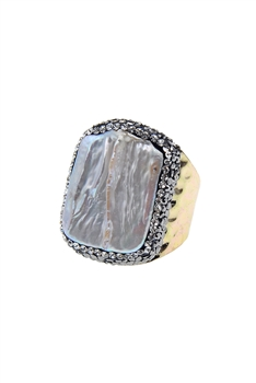 Crystal Pearl Metal Rings R1390