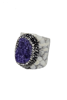 Classic Natural Stone Snakeskin Cuff Rings R1394