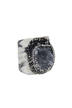 Classic Natural Stone Snakeskin Cuff Rings R1394 - Grey