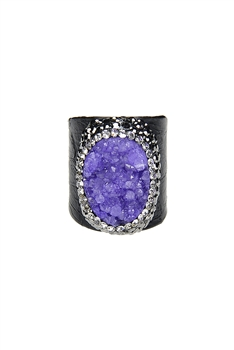 Hot Sale Snake Leather Druzy Stone Rings R1396 - Purple