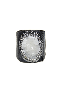 Hot Sale Snake Leather Druzy Stone Rings R1396 - White