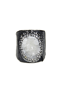 Hot Sale Snake Leather Druzy Stone Rings R1396