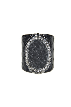 Hot Sale Snake Leather Druzy Stone Rings R1396 - Black
