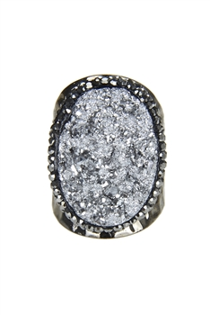 White Druzy Stone Metal Rings R1400