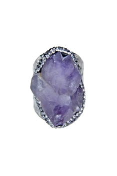 Fashion Purple Druzy Stone Crystal Metal Rings R1403
