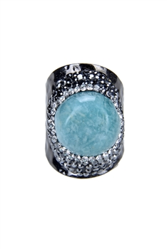 Retro Metal Crystal Stone RIng R1415