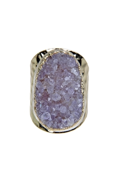 Purple Druzy Stone Metal Rings R1428