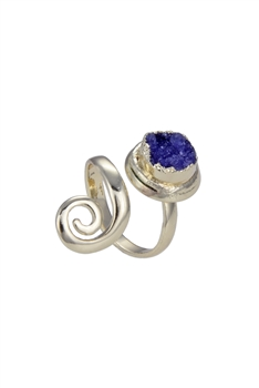 Original Design Druzy Stone Metal Rings R1429 - Purple