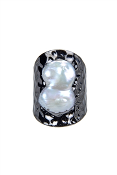 Mother of Pearl Metal Statement Rings R1435 - Gun Metal