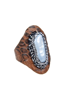 Fashion White Pearl Crystal Leatherette Rings R1436 - Brown