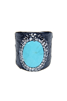 Fashion Turquoise Pearl Crystal Leatherette Rings R1437