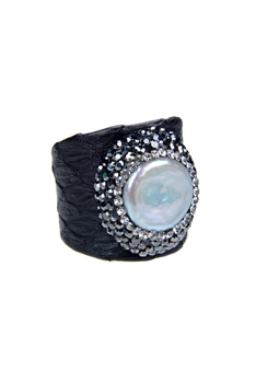 Fashion Turquoise Pearl Crystal Leatherette Rings R1437 - Black
