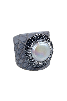 Fashion Turquoise Pearl Crystal Leatherette Rings R1437 - Grey