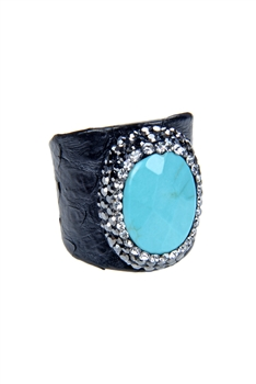Fashion Turquoise Pearl Crystal Leatherette Rings R1437 - Turquoise