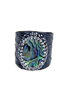 Fashion Mother of Pearl Crystal Leatherette Rings R1439