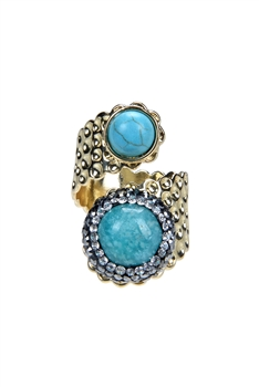 Metal swirling Turquoise Rings R1443 - Gold